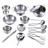 Yeesn Role Play Toy - Kitchen Cooking Educational Learning Set, Stainless steel Pots Pans Cookware Cooking Utensils Miniature Toy For Boys Girls (16sets)
