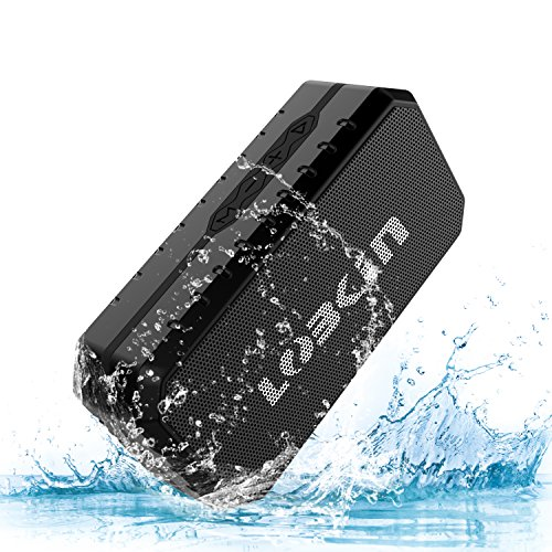 LOBKIN Waterproof Bluetooth Speaker, Portable Wireless Stereo Speaker,IPX5 Water Resistance & Built-in Mic, Dual-Driver Outdoor Speaker for Pool, Beach, Travel, Party