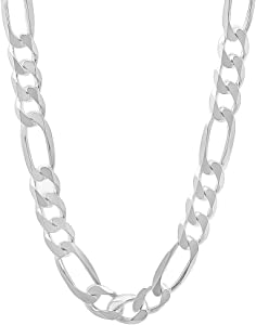 Italian Chain, Super Flat Figaro 140 Jewelry Gift for Women and Girls Glitzs Jewels 925 Sterling Silver Necklace