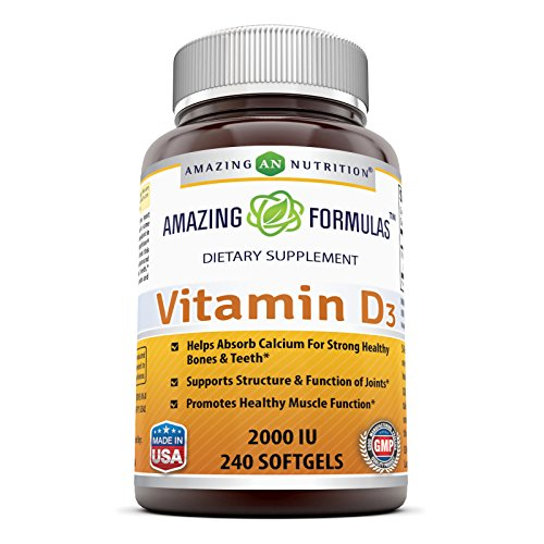Amazing Nutrition Amazing Formulas Vitamin D3- 2,000 IU, 240 Softgels- Important Vitamin For Optimal Body Function- Supports Bone Health, Cardiovascular Health, Kidney Function and Over-all Well-being