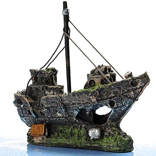 Amazon.com : UEETEK Fish Tank Accessories Ship Aquarium Ornament Decoration for Shrimp Cichild Turtle small fish : Pet Supplies