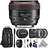 Canon EF 50mm f/1.2L USM Lens w/ Advanced Photo and Travel Bundle - Includes: Altura Photo Sling Backpack, Monopod, UV-CPL-ND4, Camera Cleaning Set