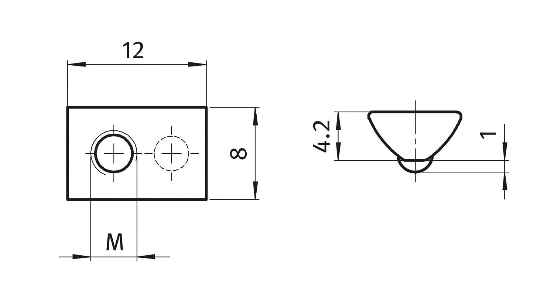 Federkugel 10x Nutenstein 5 St M4 Nut 5 Typ I Stahl verzinkt ohne Steg
