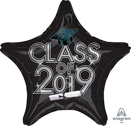 Graduation Class of 2019 Star Black Colored 18'' Mylar Balloon Grad Cap Congrats Diploma