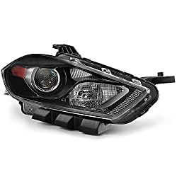Acanii - For 2013-2016 Dodge Dart Halogen With Black Bezel Replacement Headlight Headlamp - Passenger Side Only