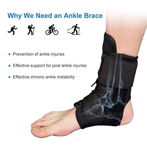 Ankle Stabilizer SNEINO Adjustable Ankle Brace with Gel Spring Support Ankle for Pain Recovery Reduce Foot Swelling Provides Arch Support,Heel Spurs,Achilles Tendon (M) by SNEINO (Image #1)
