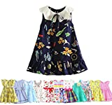 Abalaco Girls Kids Cotton Party Cute Sundress Multicolor Pattern Summer Sleeveless Casual Tutu Dress Suit 1-7T (5-6 Years, Navy Blue)
