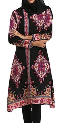 Domple Femmes Sexy Milieu Imprimé Palangres Orient Musulman Robes Abaya Noir