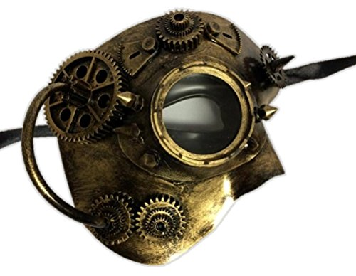 [Gold Steampunk Phantom Half Mask with Goggle Mens Womens Masquerade Robot Cyber] (Female Robot Costumes)