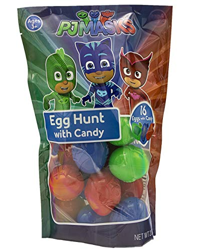 PJ Masks Egg Hunt Prefilled with Candy Characters, 16 Count -