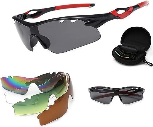 iSpchen Gafas de sol polarizadas para deportes, gafas de ciclismo con 5 gafas intercambiables, gafas deportivas UV400 para ciclistas, motocicletas, conducción, esquí, patinaje sobre hielo, playa: Amazon.es: Belleza