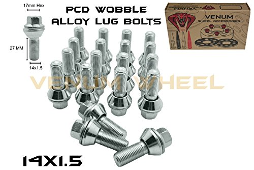 14x1.5 Zinc PCD Variation Wobble Wobbly Alloy Wheel Lug Bolts 1.2 Radius | 27mm Shank | Fast Shipping Product Certified ()