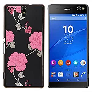 LECELL--Funda protectora / Cubierta / Piel For Sony Xperia C5 Ultra -- textil del vintage negro del papel pintado floral --