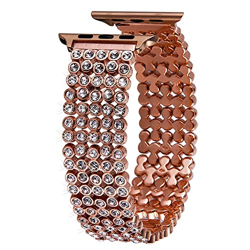 VIQIV Crystal Bands for Apple Watch 38mm 42mm 40mm 44mm iWatch Series 4 3 2 1, Dressy Diamond Rhinestone Bracelet Metal Bling Jewelry Wristband Strap for Women Rose Gold ()