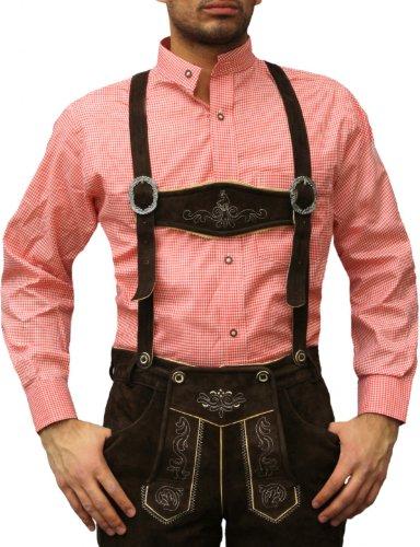 Trachtenhemd mit Stehkragen für Trachtenlederhosen ROT/kariert, Hemdgröße:4XL