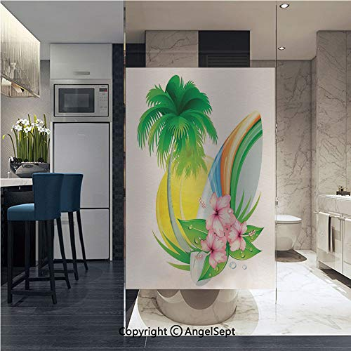 AngelSept Window Films Privacy Glass Sticker Illustration of Funky Summer Insignia with Palms and Surfboard Tidal Bore Print Static Heat Control Anti UV 22.8In by 35.4In,Green Yellow Pink