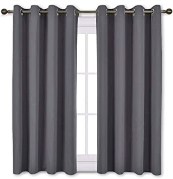 Amazon Com Nicetown Blackout Curtains Panels For Bedroom Window Treatment Thermal Insulated Solid Grommet Blackout Drapes For Living Room Set Of 2 Panels 52 By 45 Inch Grey Home Kitchen