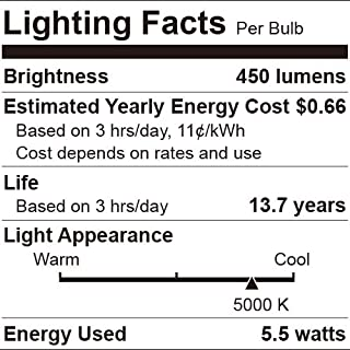 40W Equivalent A19 LED Light Bulb,5000K Daylight, E26 Medium Base, Non-Dimmable LED Light Bulb,450lm,UL Listed 16-Pack