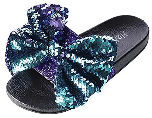 - H2K Women's Slide Slip-on Slipper with Sequin Bow (6, Purple)