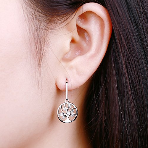 Tree Earrings 925 Sterling Silver Cubic Zirconia Family Tree of Life Hook Dangle & Drop Earrings by JO WISDOM (Image #1)