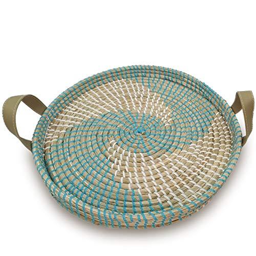 (Ann Lee Design Round Serving Seagrass Trays (Vortex with Handle))