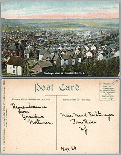 Birdseye View Postcard (GLOVERSVILLE N.Y. BIRDS EYE VIEW ANTIQUE POSTCARD)