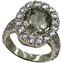 Genuine Green Amethyst Gemstone Ring 925 Solid Silver Jewellery For Women & Girls Round Shape Pave Style