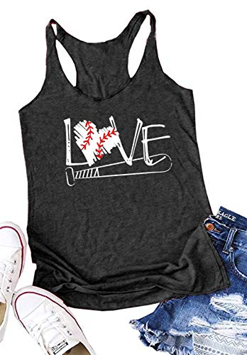 Baseball Softball Tank Top - Love Baseball Mom Racerback Tank Tops Women Casual Summer Graphic Cute Sleeveless Shirts Tees (Medium, Dark Gray)