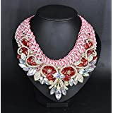 style12 red - Women Fashion Pendant Crystal Flower Choker Chunky Statement Chain Bib Necklace