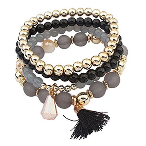 Ameesi 4Pcs/Set Women Ethnic Multilayer Resin Beads Tassels Cuff Bracelets Fashion Jewelry - Black from Ameesi