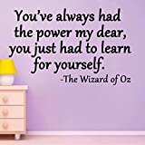 You've always had the power my dear, you just had to learn for yourself-Wizard of Oz quote (10x16, red)