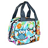 NGIL Insulated Lunch Bag, Zig Zag Owl Chevron (Blue Grey)