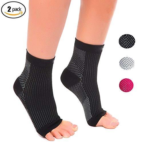 Plantar Fasciitis Socks (2 pairs) Feet &Heel Pain Relief for men, women, nurses, maternity, pregnancy Ankle Brace & Arch Support (Black, L/XL)