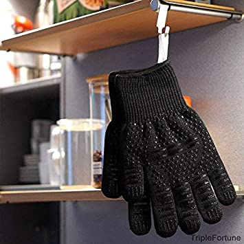 Black Heat Resistant BBQ Gloves Long Size for Extra Forearm Protection 1 Pair of Oven Mitts for Cooking,Grilling,Frying and Baking