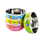Baby Feeding Bowls 18/10 Stainless Steel for Toddlers,Children, Phthalate & BPA Free - Set of 4 Child Bowls for Snack, Cereal, Soup, Rice