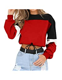 Womens Hoodie, Long Sleeve Patchwork Sweatshirt Pullover Tops Blouse