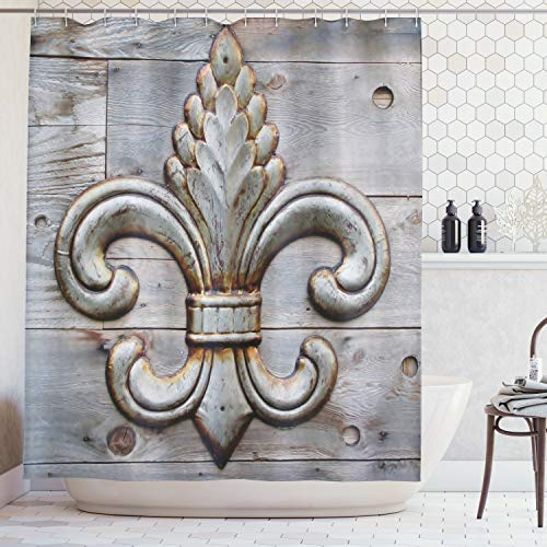 Ambesonne Fleur De Lis Shower Curtain Home Antiques Decor, Peacock Flower Lily Rusty Antiqued Wood Silver Medieval Door Bell French Saints Symbol Rustic for Bathroom Fabric Shower Curtain, Charcoal ()
