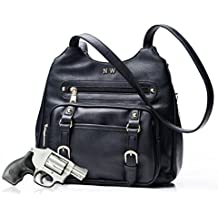 Locking Concealed Carry Purse by Nature's Wild - Black leather handbag featuring right and left hand draw for CCW - FREE Bonus Neoprene Waistband Gun Holster Included