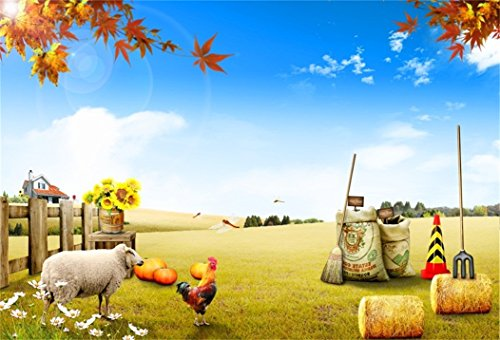 AOFOTO 7x5ft Farm Scenic Backdrop Countryside Photography Background Rustic Fence Cock Sheep Fall Harvest Barn Haystack Kid Portrait Countryside Photo Shoot Studio Props Video Drop Wallpaper Drape