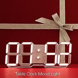 ROIRETNI Modern LED Digital Table Clock (Mood Light/White Cable 9.8ft)