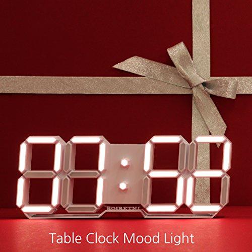 Jumbo Garden Solar Thermometer (ROIRETNI Modern LED Digital Table Clock (Mood Light/White Cable 9.8ft))