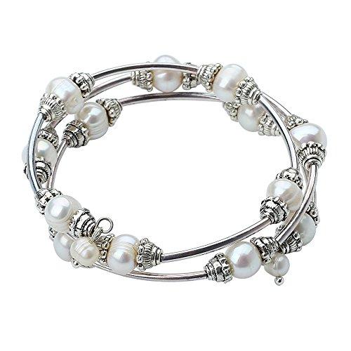 Pearl Beaded Wrap Bracelet - 7