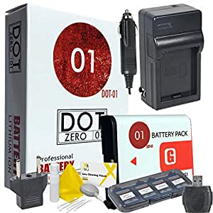 DOT-01 Brand 1400 mAh Replacement Sony NP-FG1 Battery and Charger for Sony DSC-W55 Digital Camera and Sony FG1 Accessory Bundle with BONUS Lens Blower Brush Cleaning Kit and Hard Memory Card Case