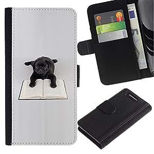 LASTONE PHONE CASE / Lujo Billetera de Cuero Caso del tirón Titular de la tarjeta Flip Carcasa Funda para Sony Xperia Z1 Compact D5503 / Black Pug Toy Dog Book Reading Books