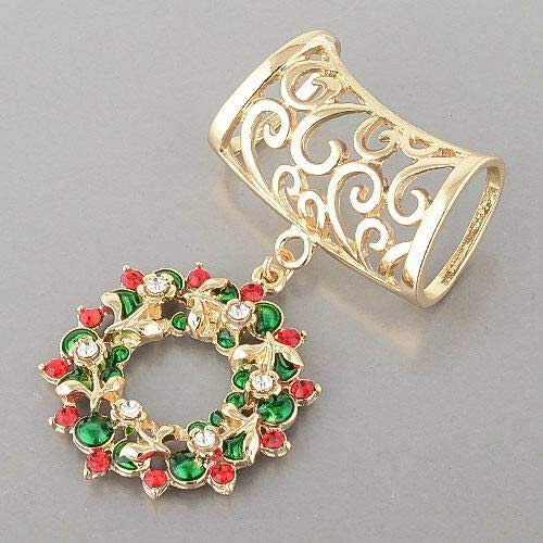 (Gold Christmas Wreath Red Green Clear Stones Scarf Charm)