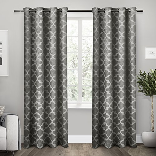 Exclusive Home Cartago Insulated Woven Blackout Window Curtain Panel Pair with Grommet Top 54x108 Black Pearl 2 Piece