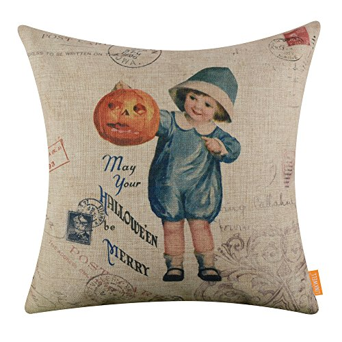 LINKWELL 18x18 inches Merry Halloween Child Pumpkin Burlap Throw Cushion Cover Pillowcase CC1374 -