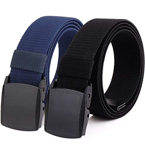 Hoanan 2-Pack Elastic Stretch Belt, Men's All Size No Metal Nylon Tactical Hiking Belt (Fit up to 56