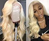 613 Full Lace Wigs Human Hair Blonde Body Wave Hair Wig Pre Plucked Hair Line for Black Women Wave Hair with Baby Hair (16inch, lace front wig)