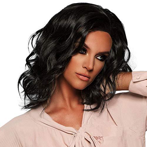Tuscom Micro-Volume Short Wavy Bobo Wigs,45cm Women Lady Fashion Wig,for Casual Cosplay Party Wig (Black)]()